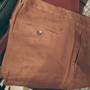 Tobacco Brown Linen Pants